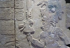 Maya relief from pre-Columbian Palenque at the origin of popcorn
